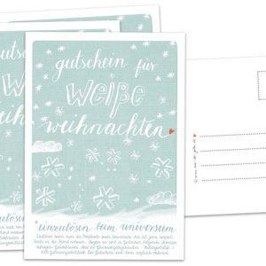 """Postkarte """"Gutschein,weiße Weihnacht""""-0"""