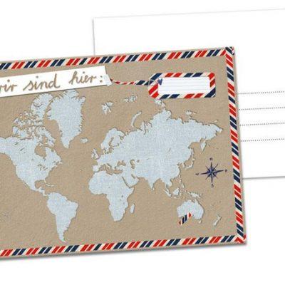 """Postkarte """"Wir sind hier...""""-0"""