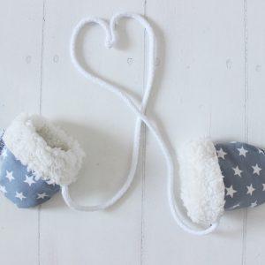 Babyhandschuhe - grau/ Sterne-0