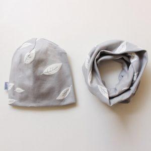 Set Beanie & Loop grau Blätter - Öko-Tex 100-0