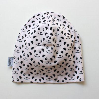 Beanie Panda schwarz/ cremé -0