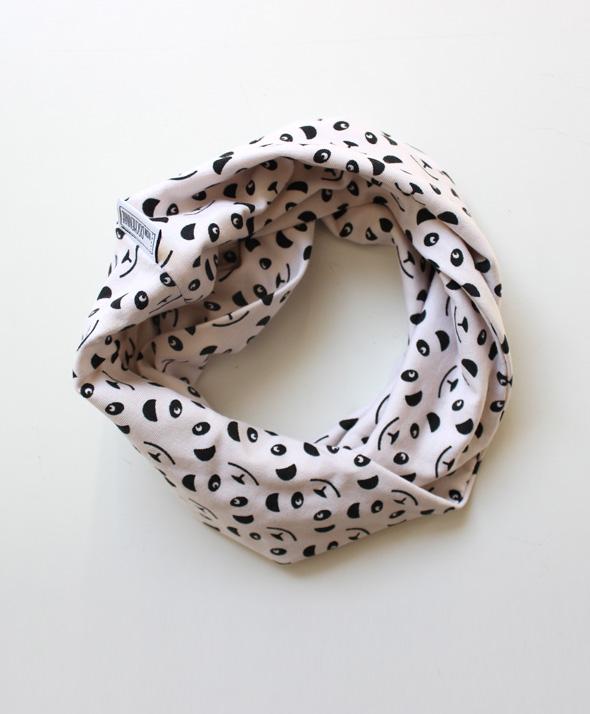Set Beanie & Loop Panda schwarz/ cremé -1606