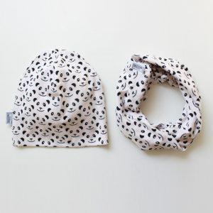 Set Beanie & Loop Panda schwarz/ cremé -0