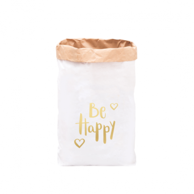 """Paperbag """"be happy - gold""""-0"""